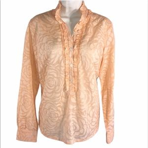 NY&CO Peach Etched Semi Sheer Blouse, Size XL